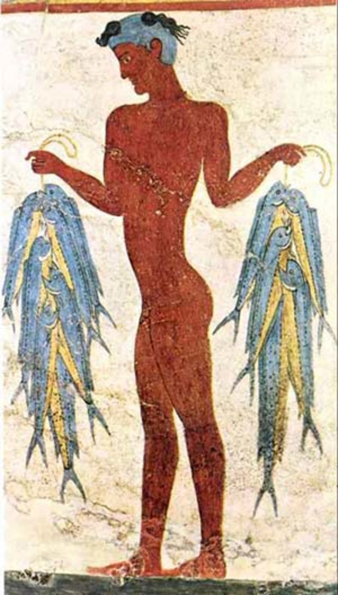 A fisherman carries his catch of the day. Minoan frescoes often depict their close association with the sea.
