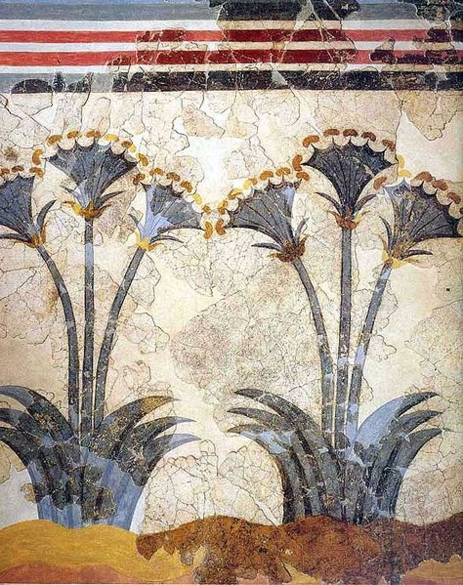 Again reminding us of Akrotiri's cosmopolitan nature, one house is decorated with elegant papyrus fronds in the style of Egyptian art. I've seen this room: right next to the papyrus is painted a Minoan lady in elegant attire.