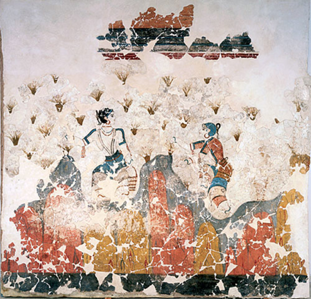 Possibly a puberty ritual, Minoan maidens gather saffron blossoms from a schematic landscape.