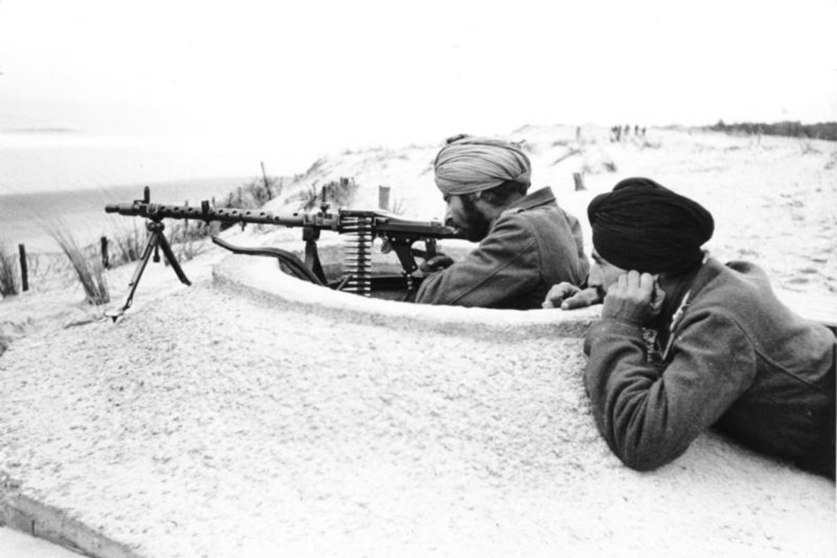 Indian soldiers of the Indische Legion, on maneuvers in Normany, France preparing for the Allied landing, spring 1944.