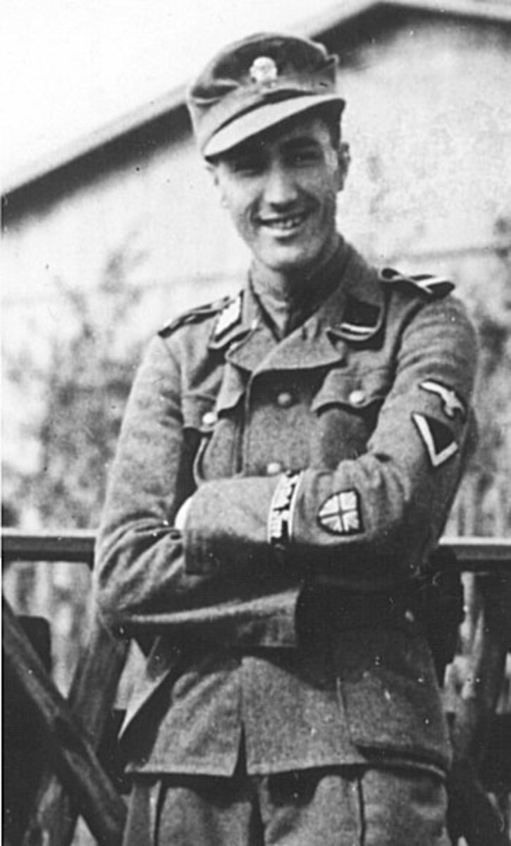 A British member of the Waffen-SS. Note the British flag patch on his wrist.