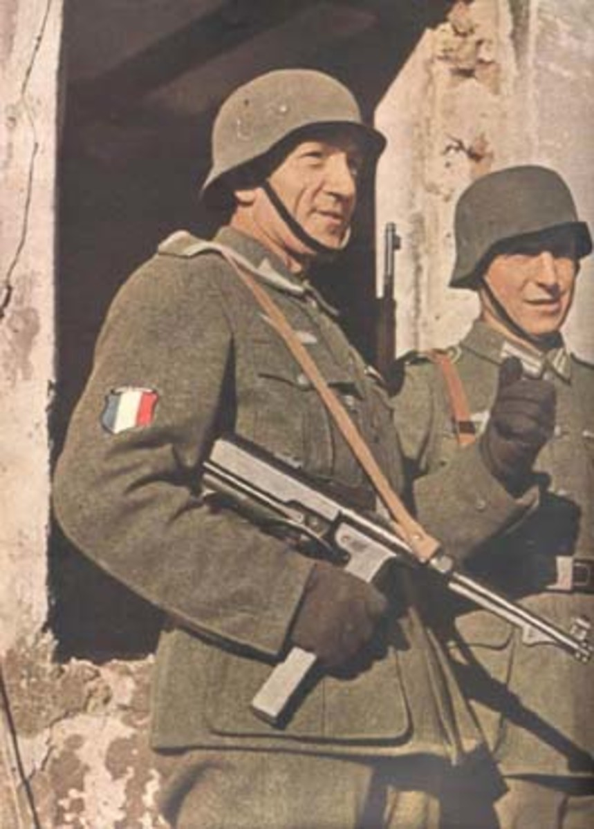 A French volunteer in the German Army, and a member of the Legion des Voluntaires. Note the French flag patch on his forearm.