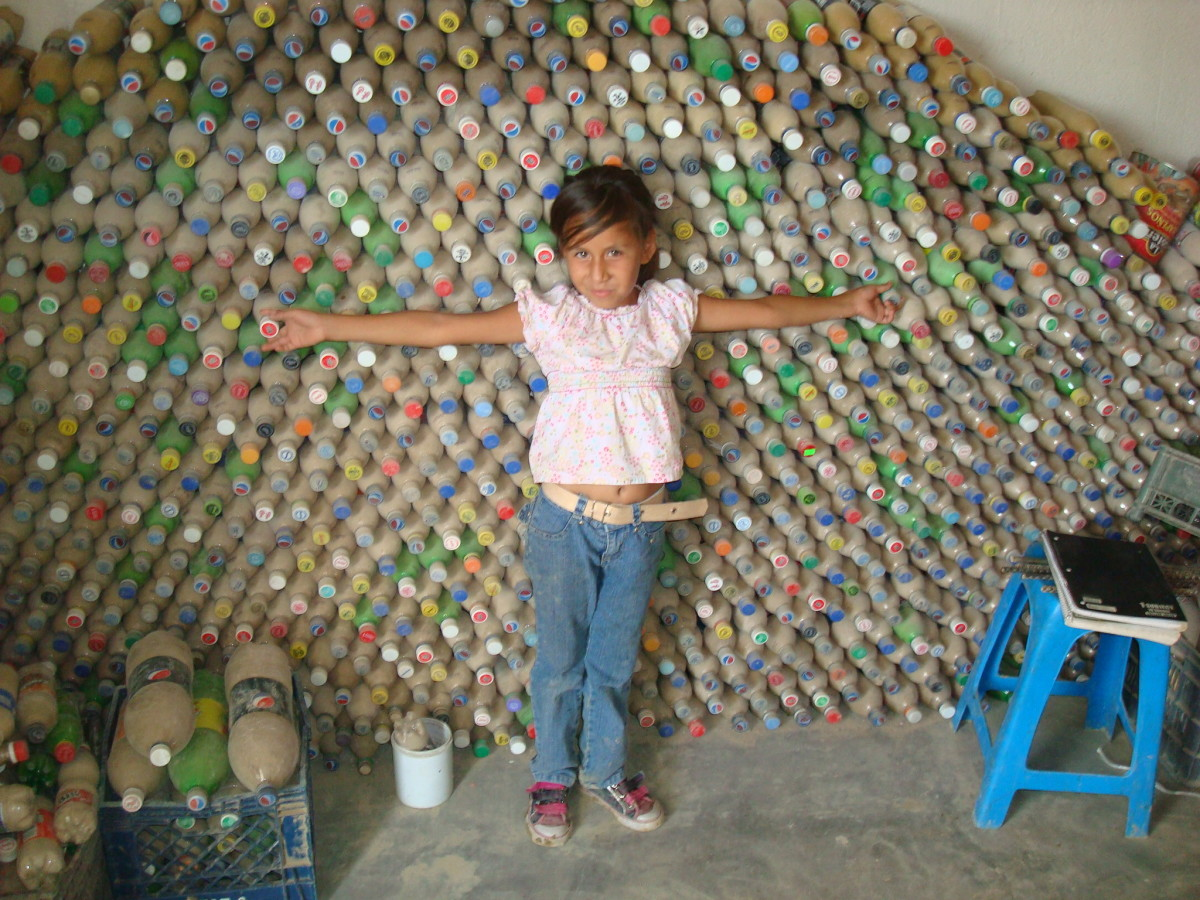 Plastic bottles filled with compacted sand