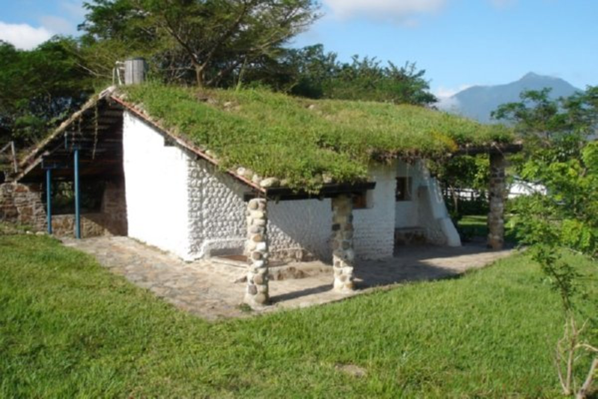 a PET bottle house with a living roof. How do you get the lawnmower up there?