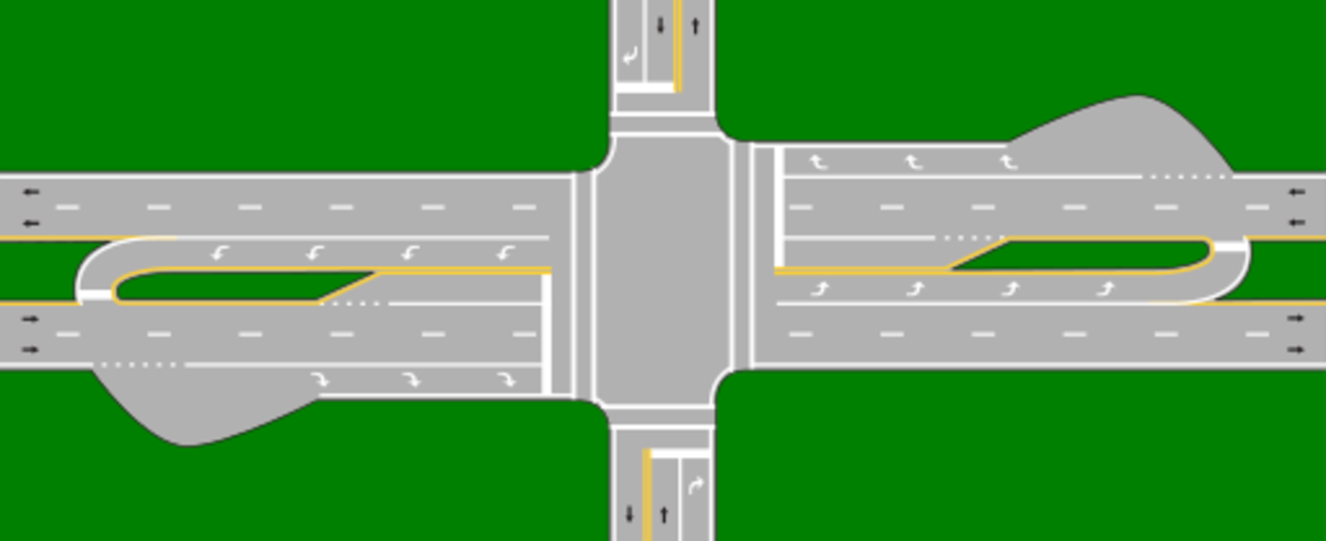 "Depiction of a ""Michigan Left"" road design."