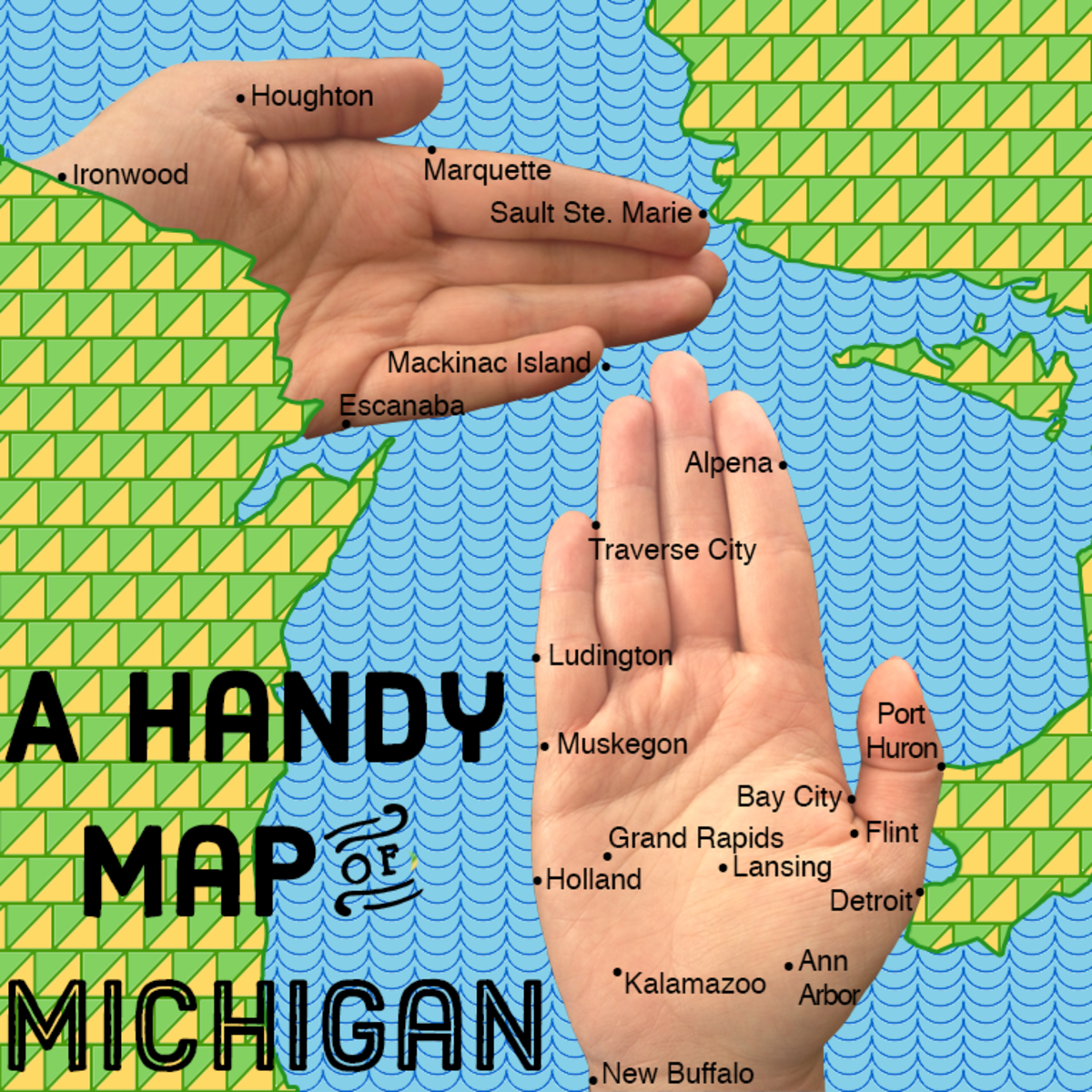 "A ""handy"" map of Michigan I use this map to show folks that I live in New Buffalo (the wristy region.)"