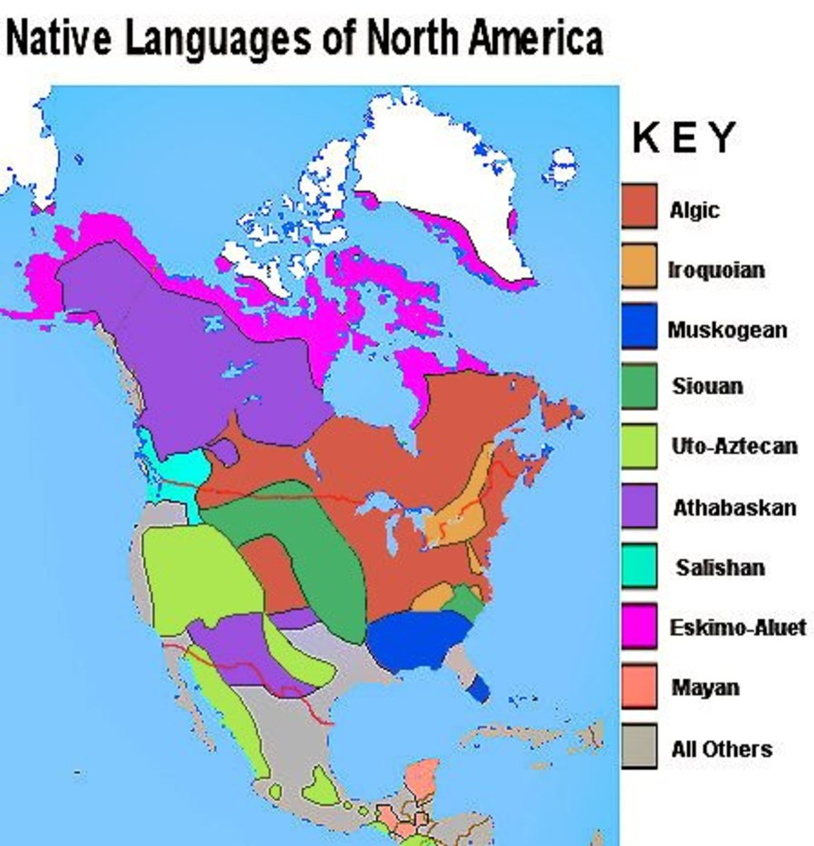 Major native language groups of America include the Algonquians (a subfamily of Algic), the Iroquoians and the Siouans, and others which all feature prominently in the naming of the 50 American states