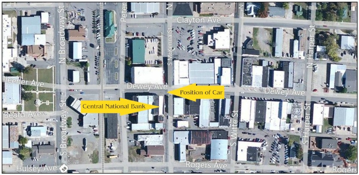 Map of Downtown Poteau showing the placement of the Bank and the Stolen Car