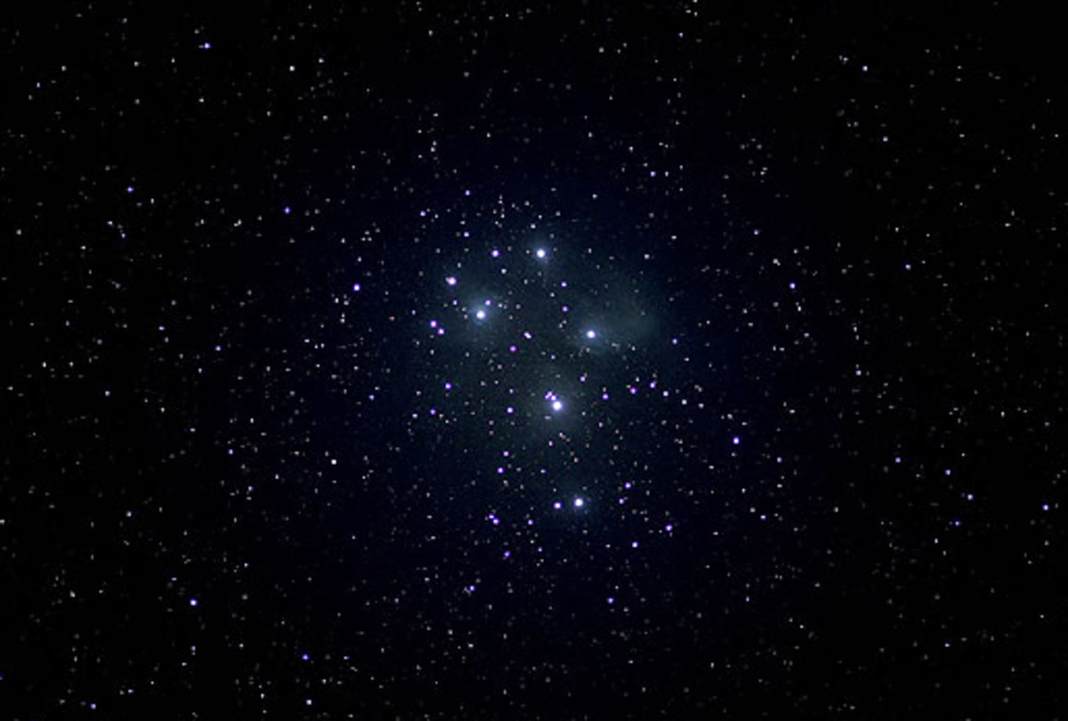 A view of the Pleides Open Star Cluster as it may appear when seen through binoculars