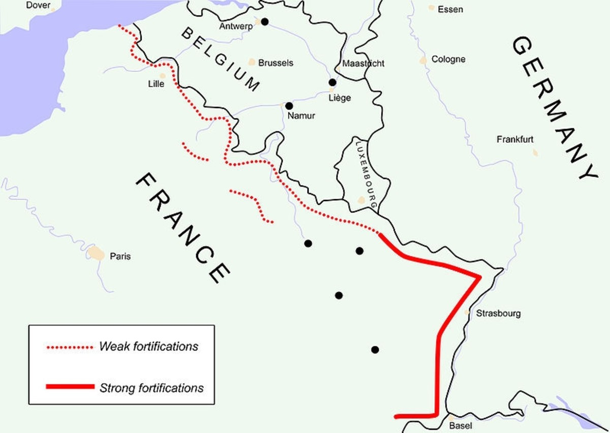 The Maginot Line (solid red) protected only the French border with Germany.