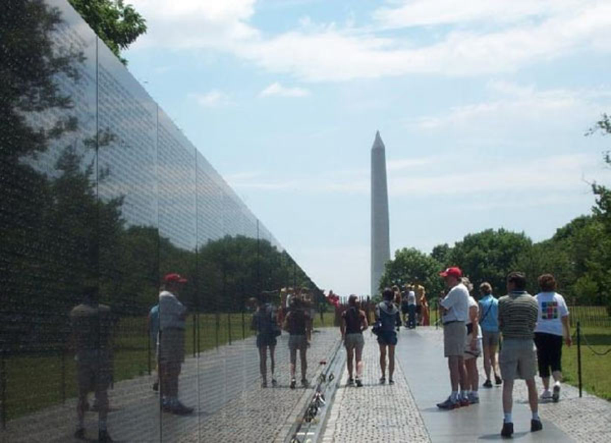 """The """"Wall"""" with the Washington Monument in the background"""