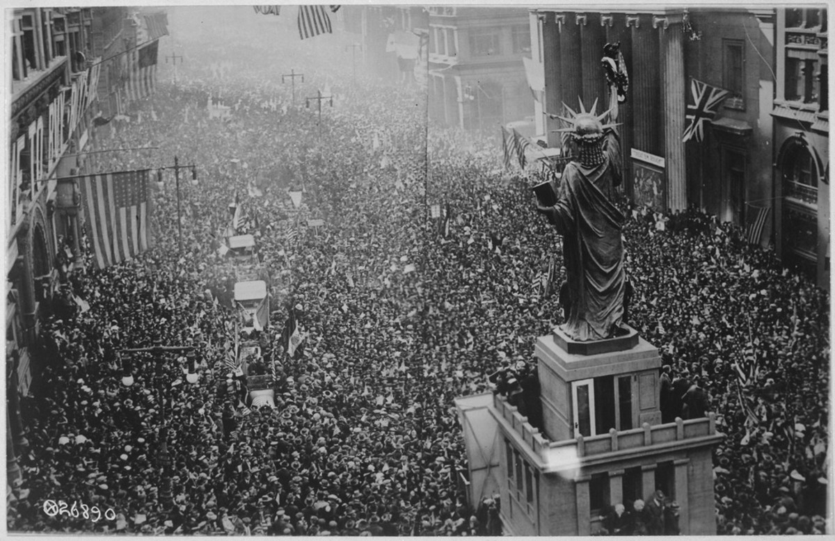 WW1: The announcing of the armistice on November 11, 1918, was the occasion for a monster celebration in Philadelphia, Pennsylvania. Thousands massed on all sides of the replica of the Statue of Liberty on Broad Street, and cheered unceasingly.