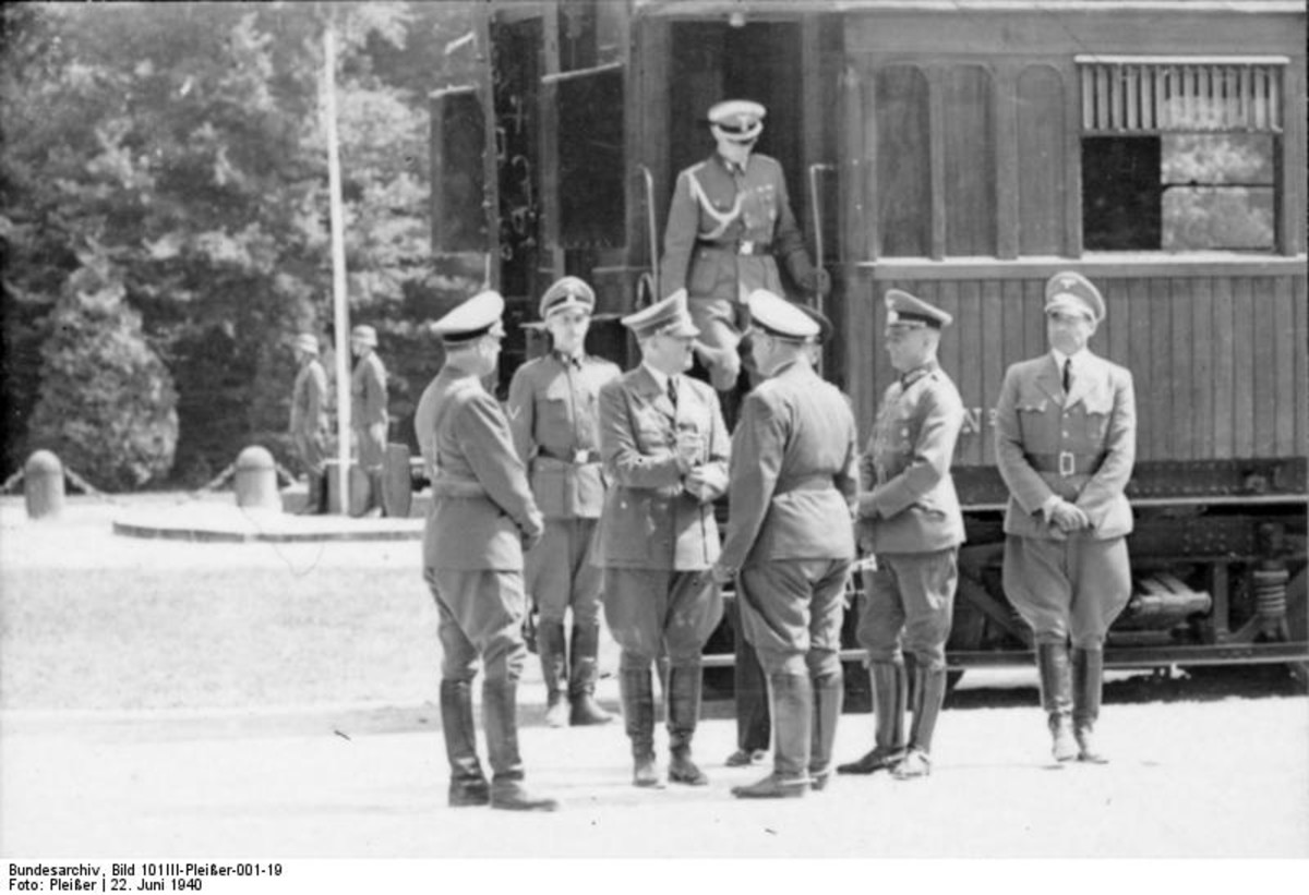 The Germans in 1940 after the French surrendered in the same railroad carriage. Pictured are Adolf Hitler, Hermann Goering, Joachim von Ribbentrop, Rudolf Hess, Heinrich Himmler, Eric Raeder.