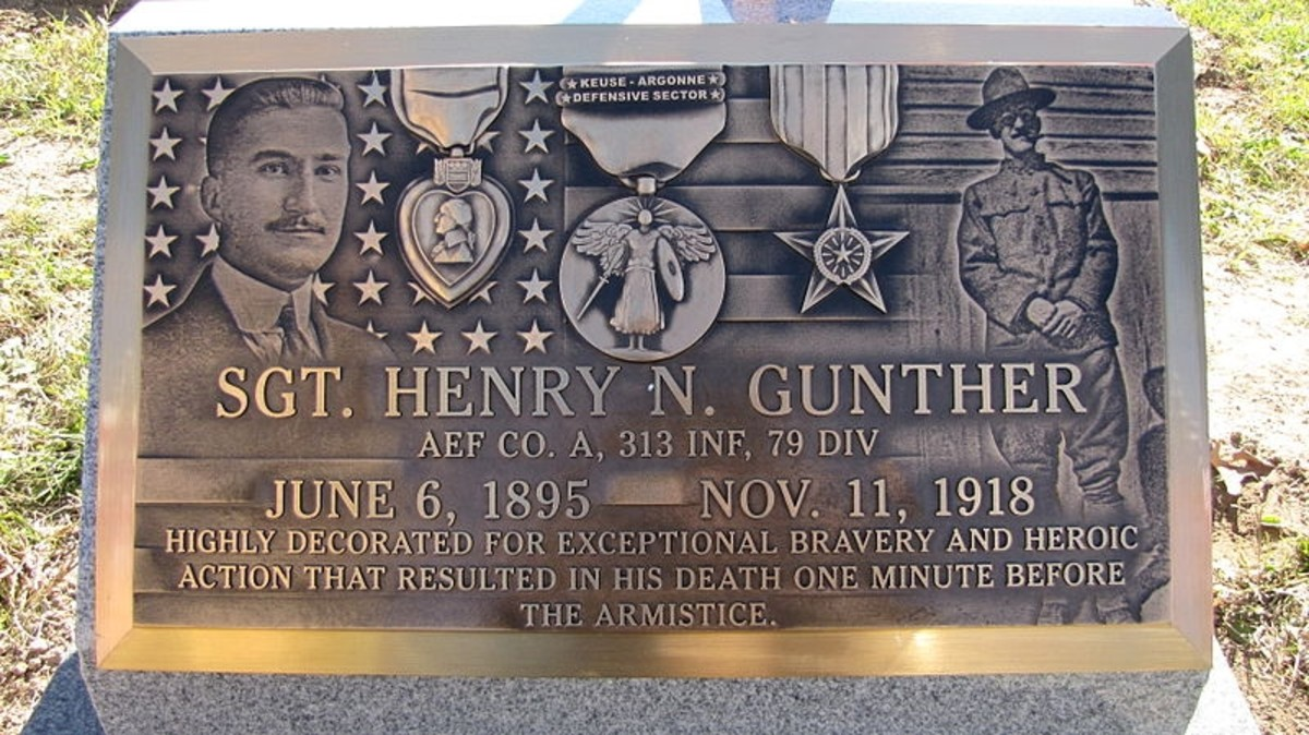 WW1: Plaque commemorating Henry N. Gunther