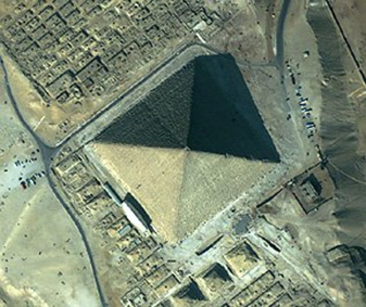 In this aerial shot of the Great Pyramid, the indents on each side can be seen.