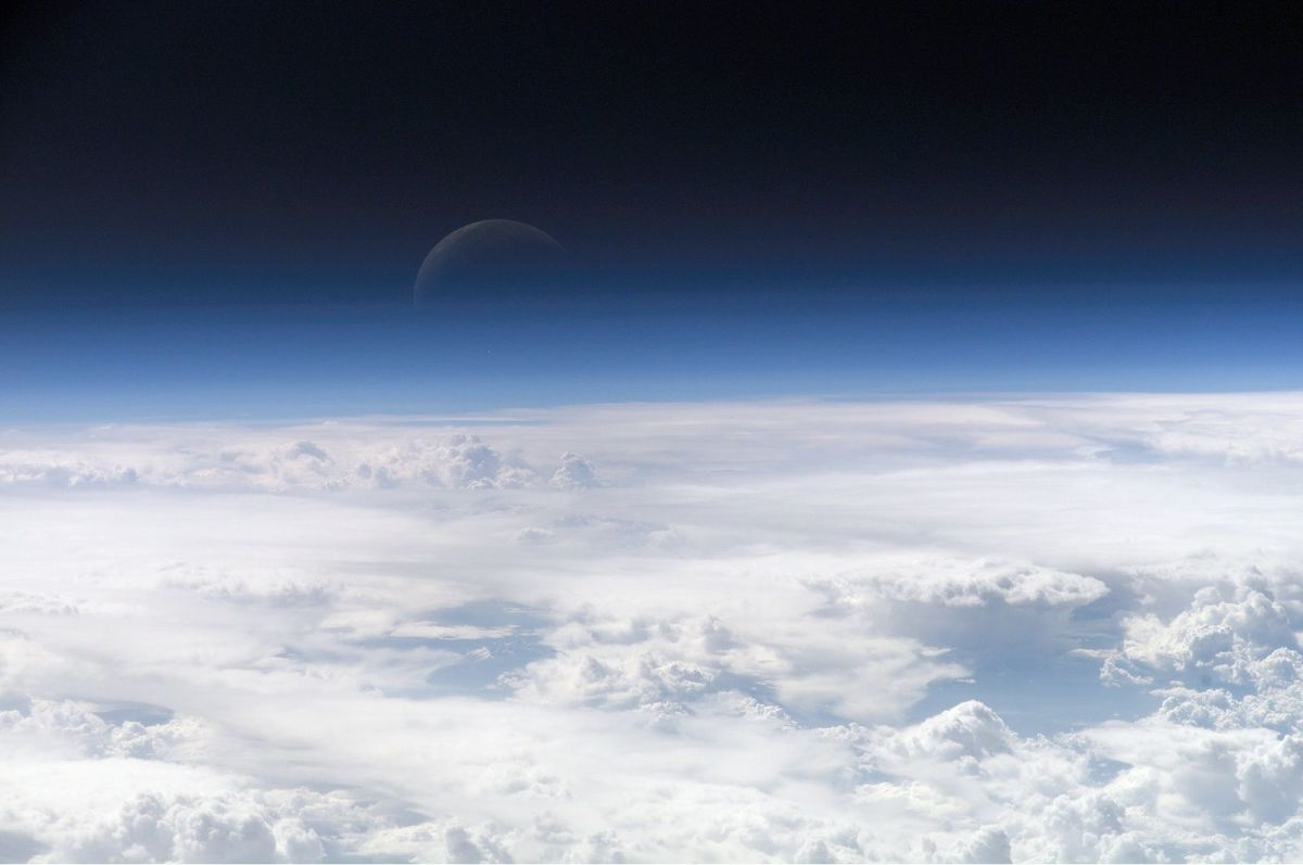 The top of Earth's atmosphere.
