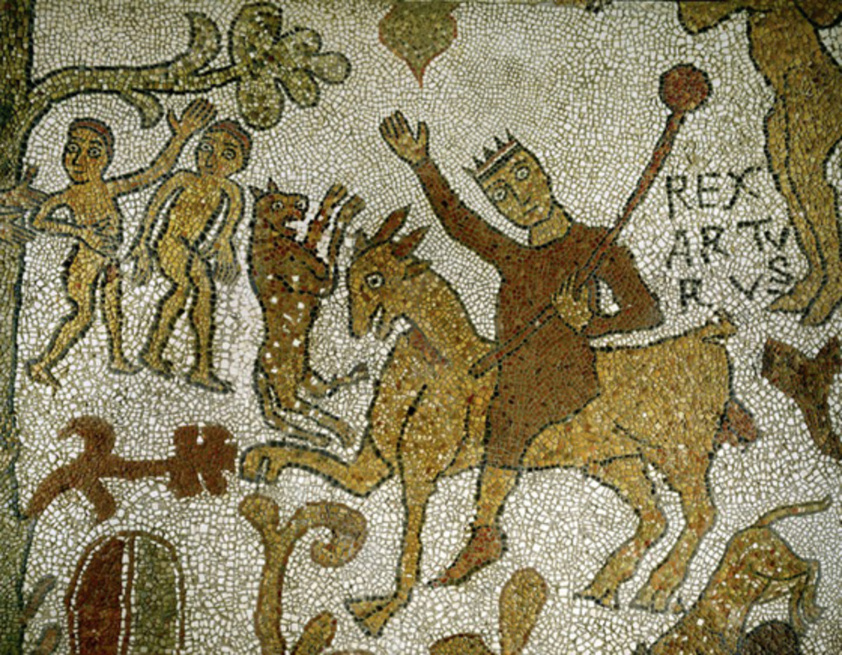 An early mosaic depicting King Arthur.