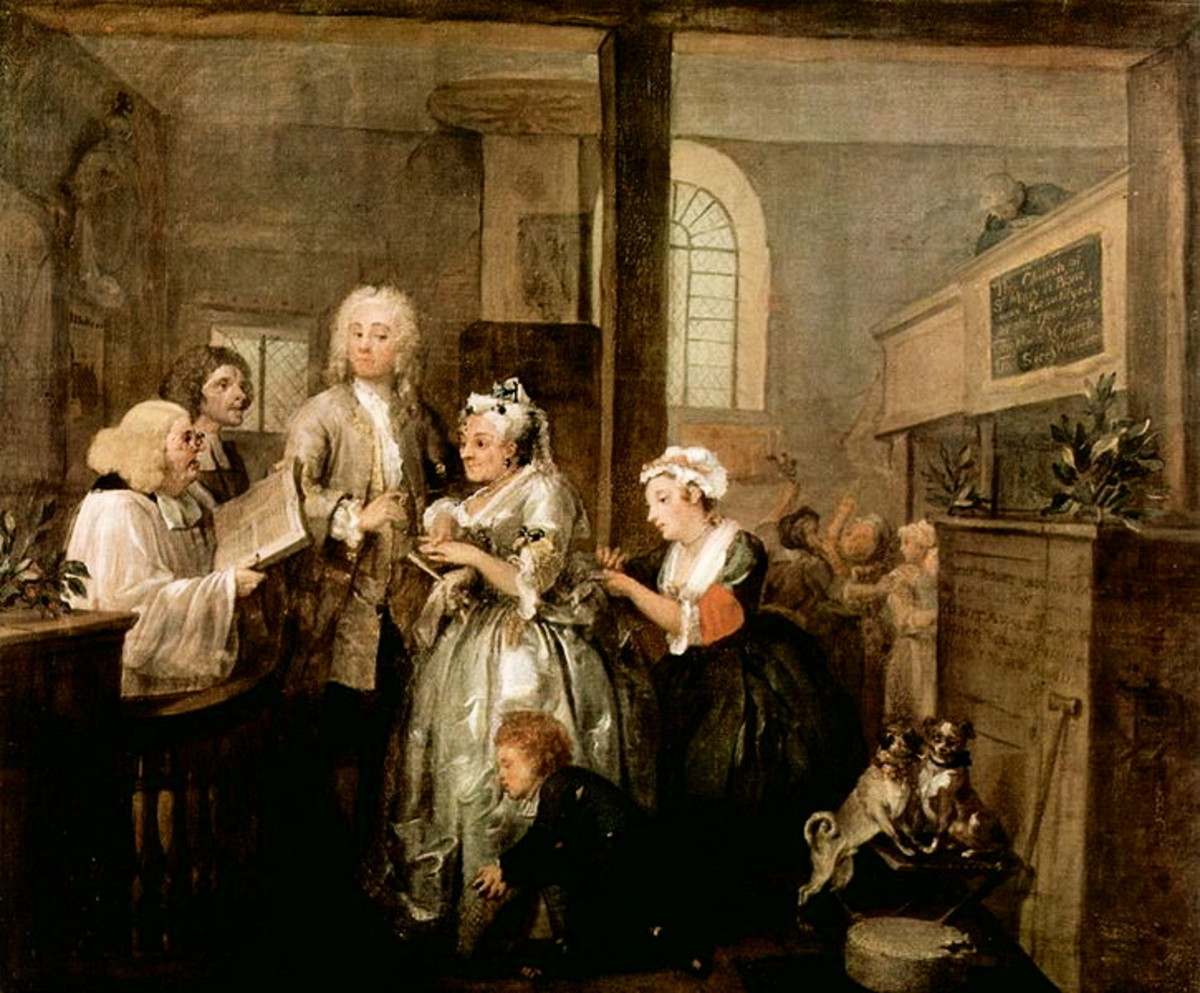 A Rake's Progress by William Hogarth. Desperate to escape the debt he incurred out of gambling, Tom Rakewell marries an one-eyed old woman for her money. His mother-in-law  in the background tries desperately to break into the ceremony.