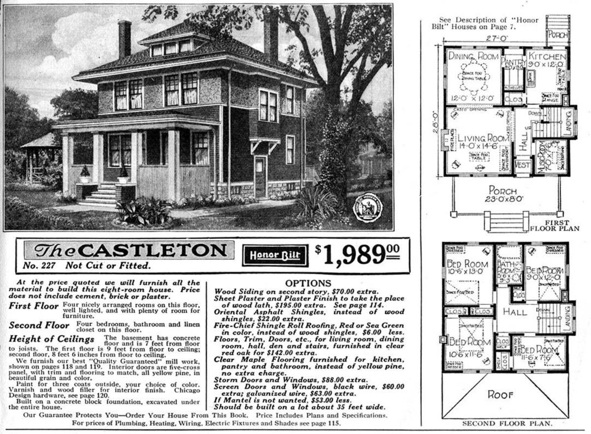 Modern Home No. C227 - The Castleton  from the Sears Modern Homes Mail Order Catalog, 1921