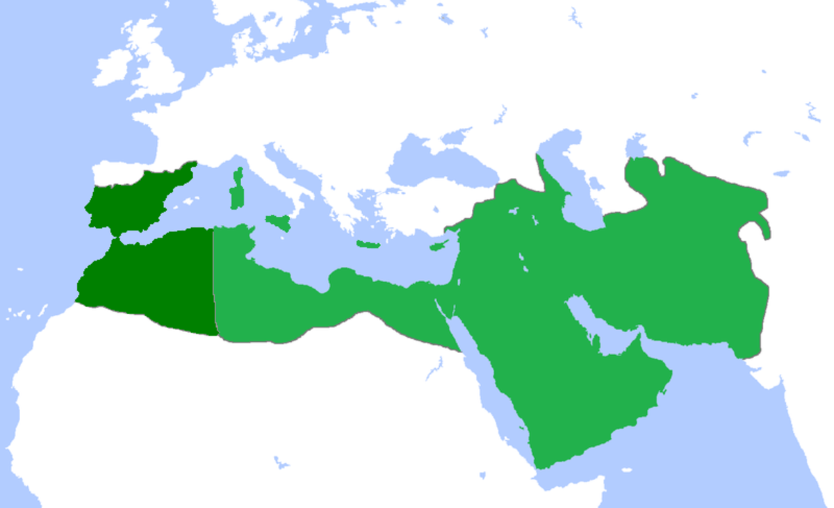 Maximum extent of Abbasid caliphate c.850  territories in dark green were lost early