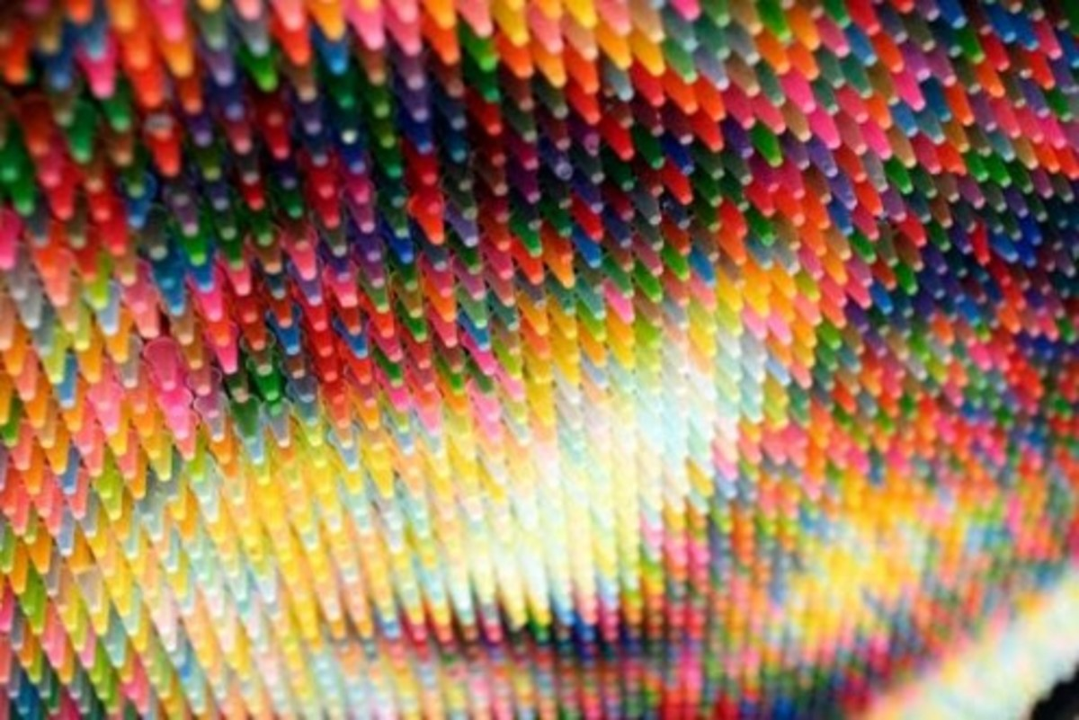 """Crayon Boy"" Detail, Christian Faur, 2008 (Hand cast crayons.)"