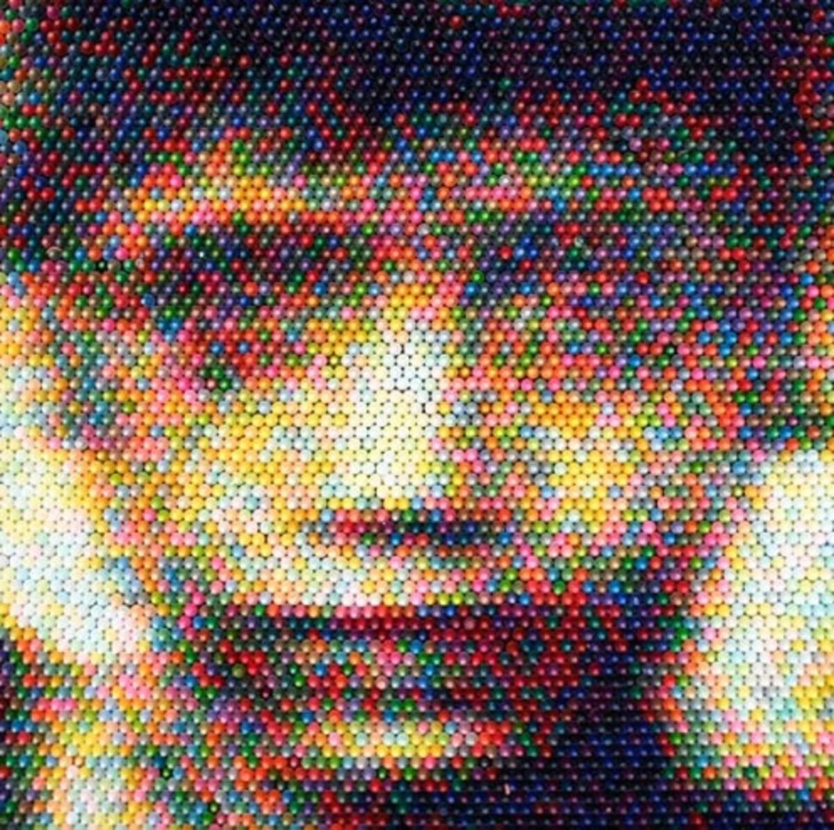 """Crayon Boy,"" Christian Faur, 2008 (Hand cast crayons.)"