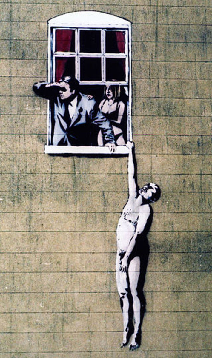Banksy's image of a naked man on the wall of a sexual health clinic in Park Street, Bristol.  The image was controversial, but following public support, the City Council decided not to remove it.  Some other Banksy works have not been so lucky.