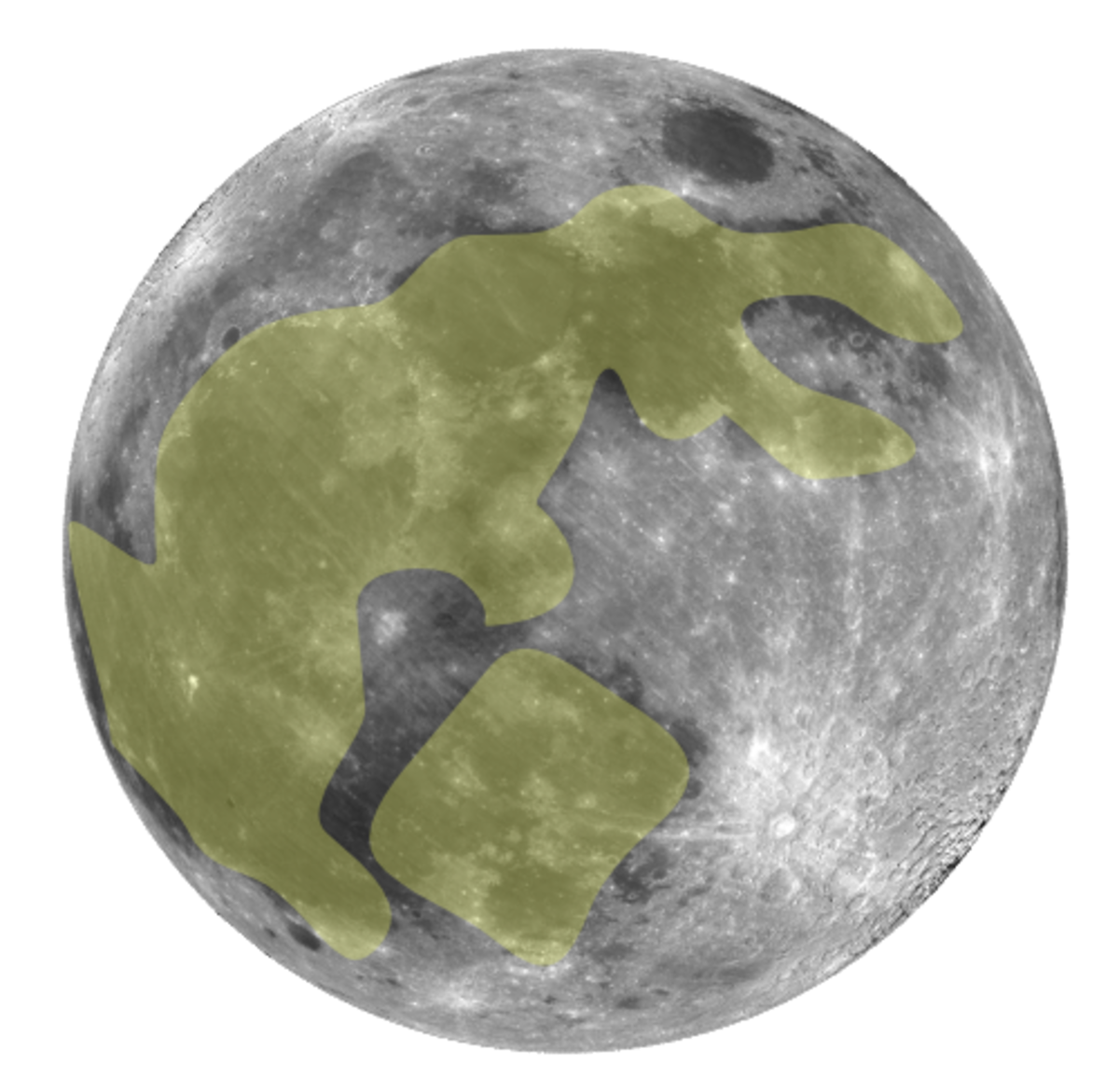 An outline of the rabbit in the moon. Can you see it?