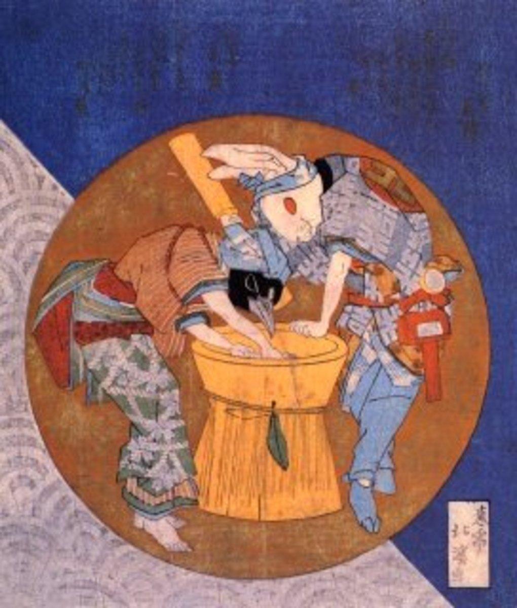 """The rabbit and raven pounding mochi"" by Totoya Hokkei (1780-1850)."