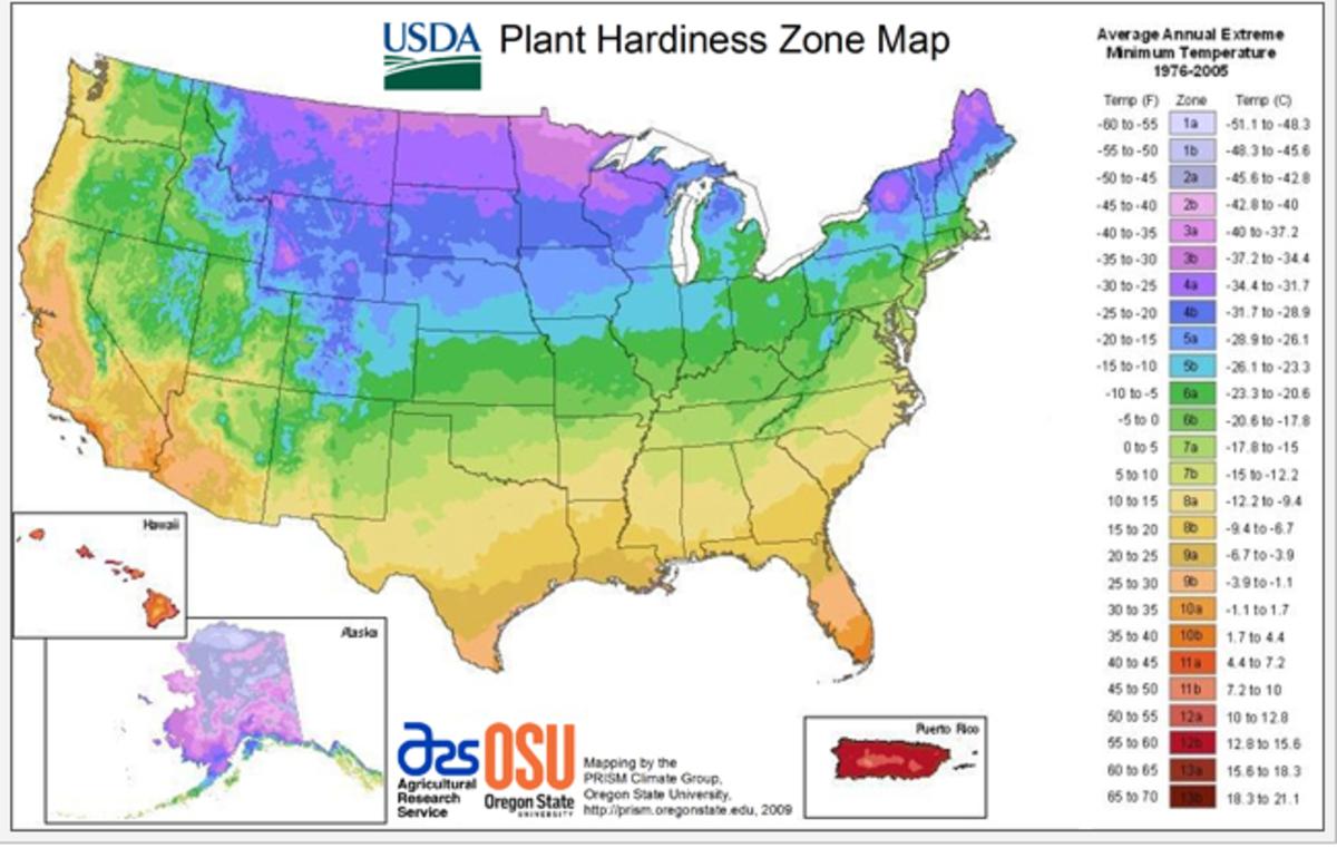 Plant Hardiness Zones, US