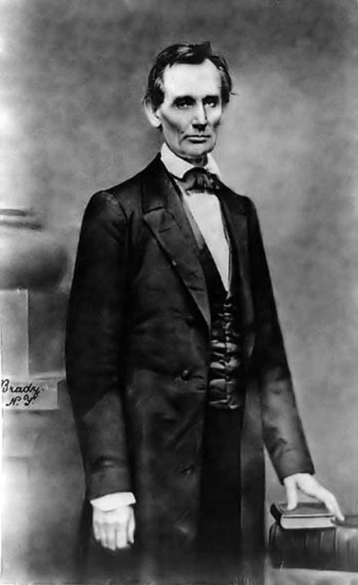 Lincoln at Cooper Union in Chicago after his speech there in 1860. First picture of Lincoln taken by Brady.