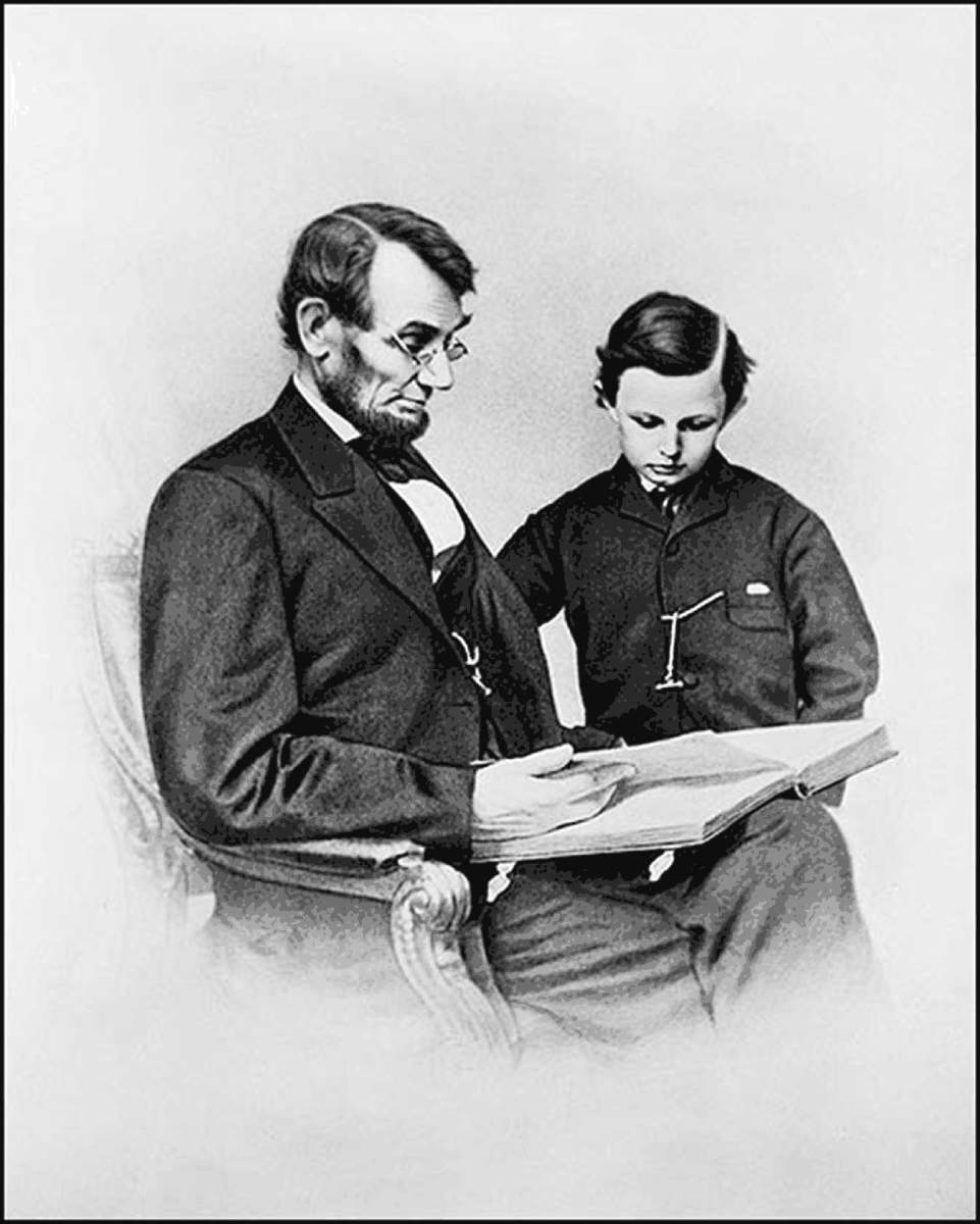 One of two official photos of Lincoln and Tad even taken together.