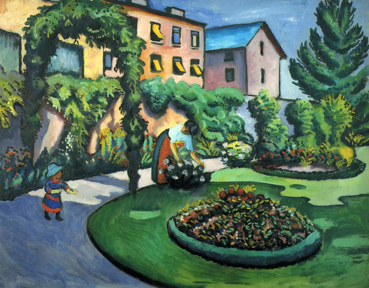 Gartenbild was painted by August Macke (1887-1914). Notice the differences between this Expressionist landscape and those of the Impressionists.