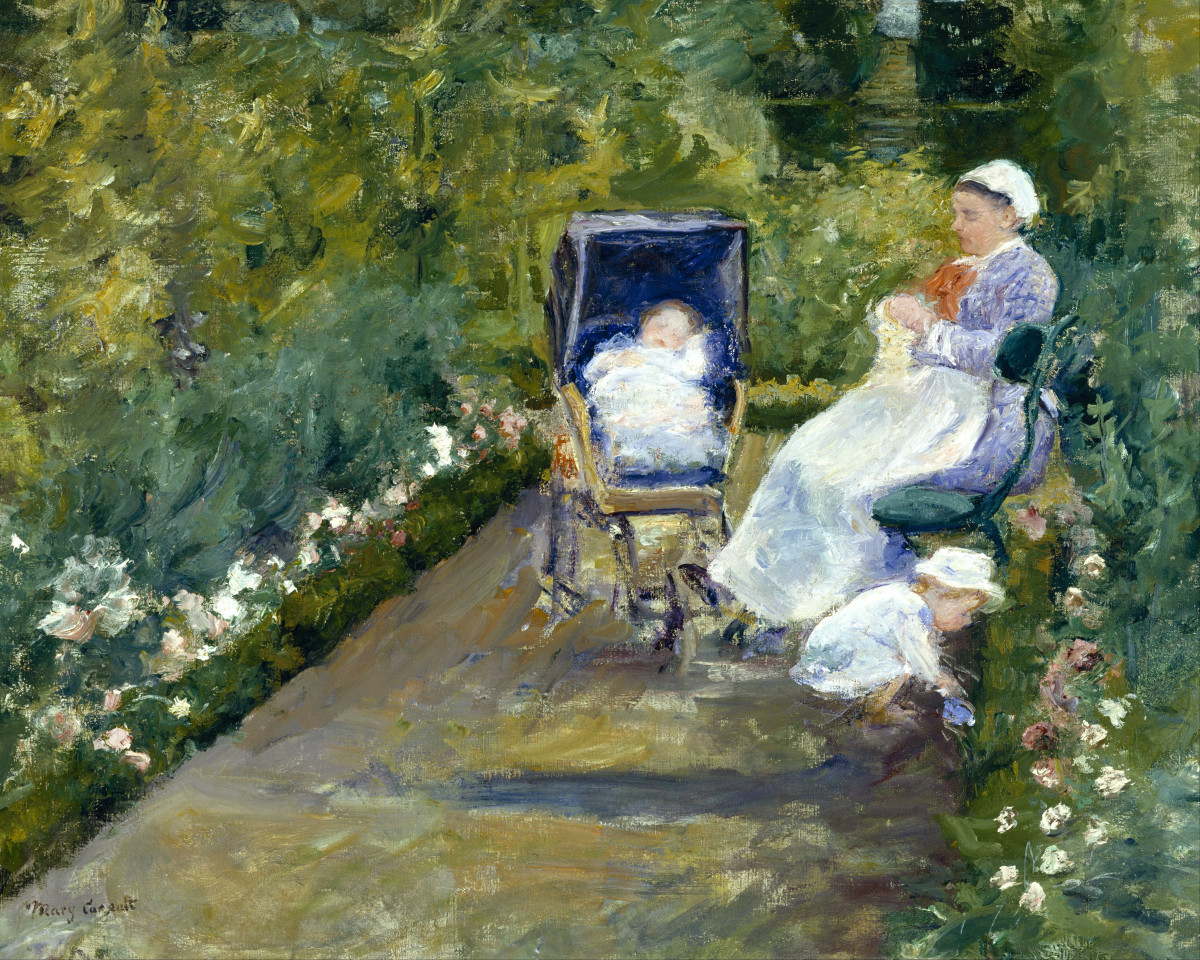 """""""Children in a Garden"""" was painted by Mary Cassatt (1844-1926) in 1878. Cassatt, an American, exhibited her paintings in France."""