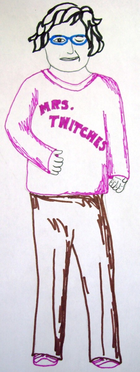 My quick sketch of Mrs. Twitches with her eye twitching.