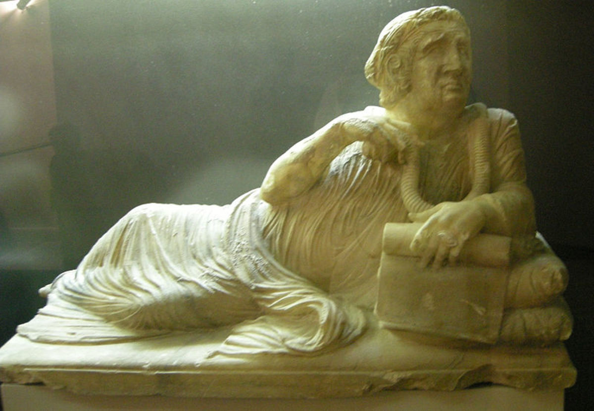The frightened face of the man on this sarcophagus as he clings to his last worldly possessions marks the beginning of the Etruscans end.