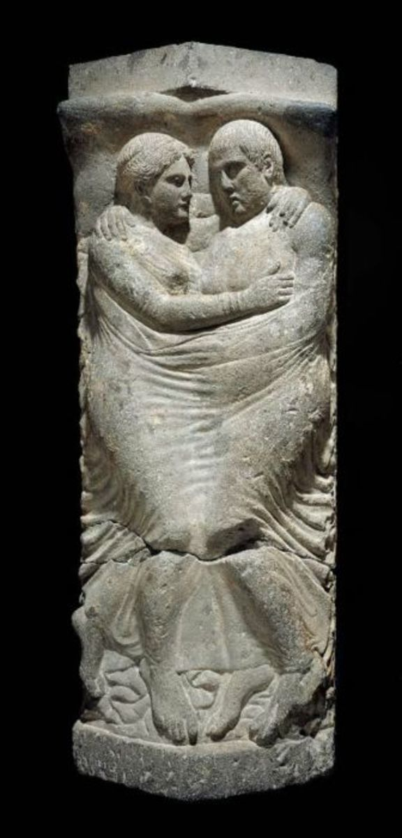 This last poignant sarcophagus hearkens back to earlier Etruscan times.