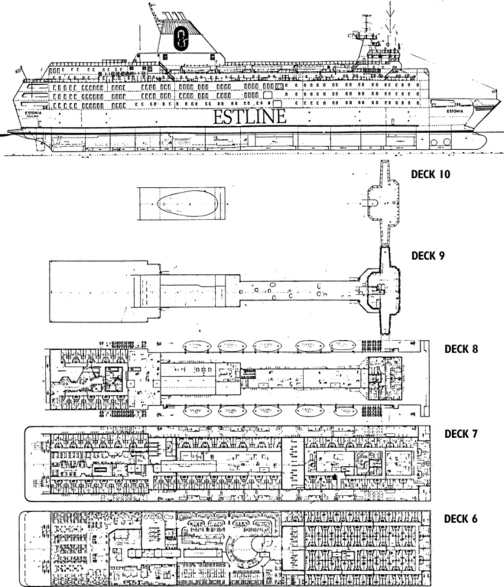 Diagram of the MS Estonia showing her top five decks