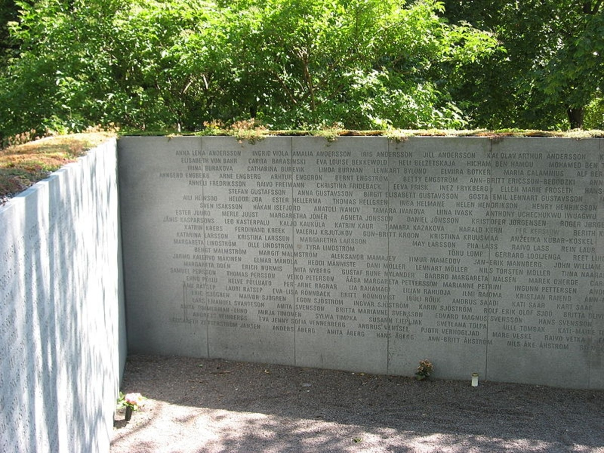 Inside the Memorial to the MS Estonia in Stockholm, Sweden.