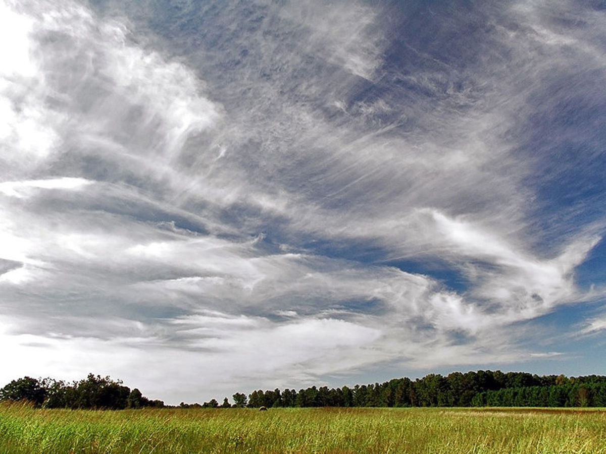 Thin sheets of cirrus clouds