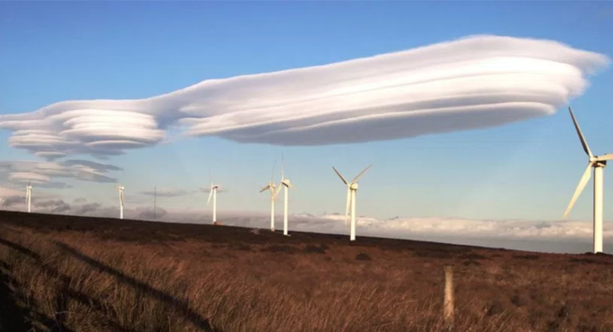 Lenticular cloud over a windmill farm