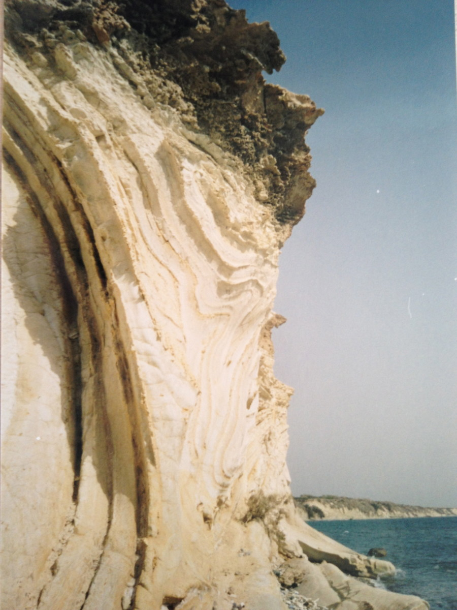 Amazing limestone at Petounda Point ,Cyprus! The formation consists of chalk that is slumped and contorted.