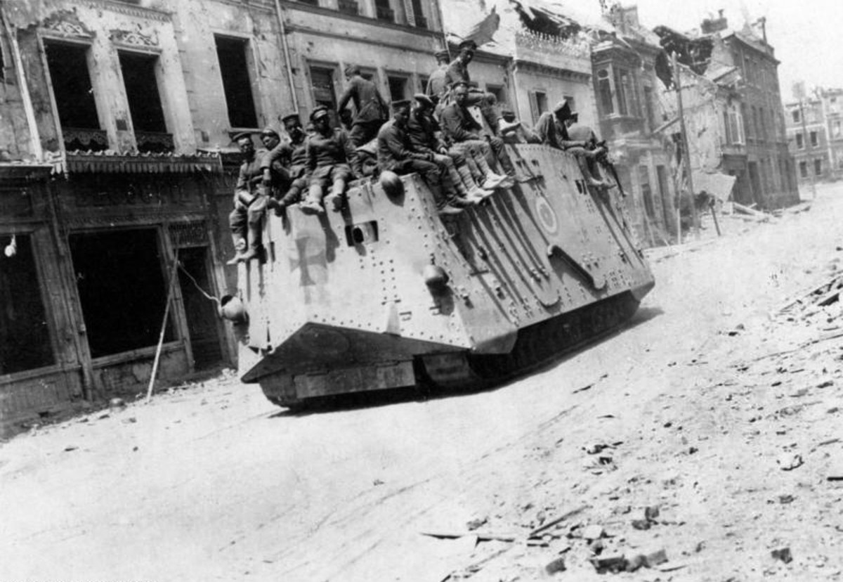 WW1: 21 March 1918: German tanks in Roye during the Battle of France (First World War) (March-July 1918). Seen from the rear.