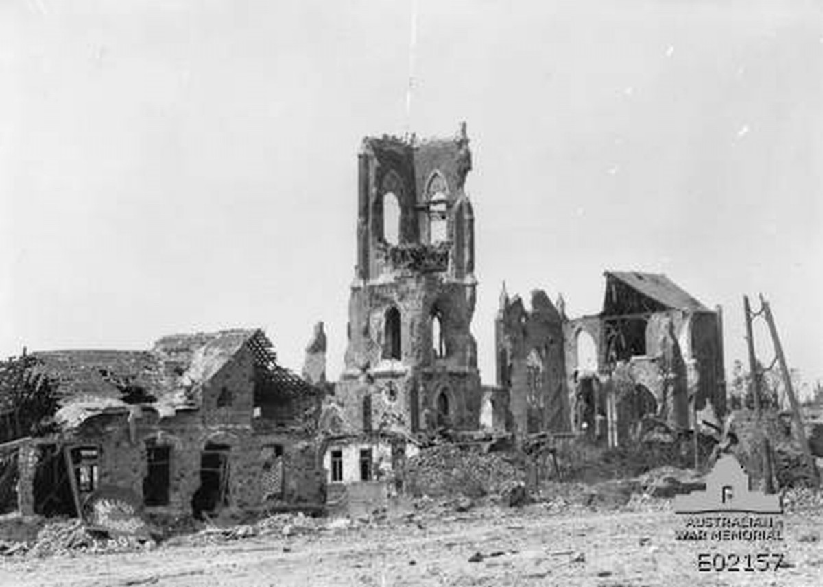 The ruined church of Villers-Bretonneux after the second battle that took place in the village, in World War I
