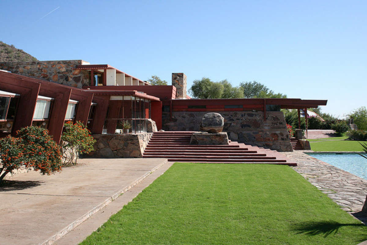 Taliesin West, by Frank Lloyd Wright. Note the way the building seems to rise from the ground naturally.