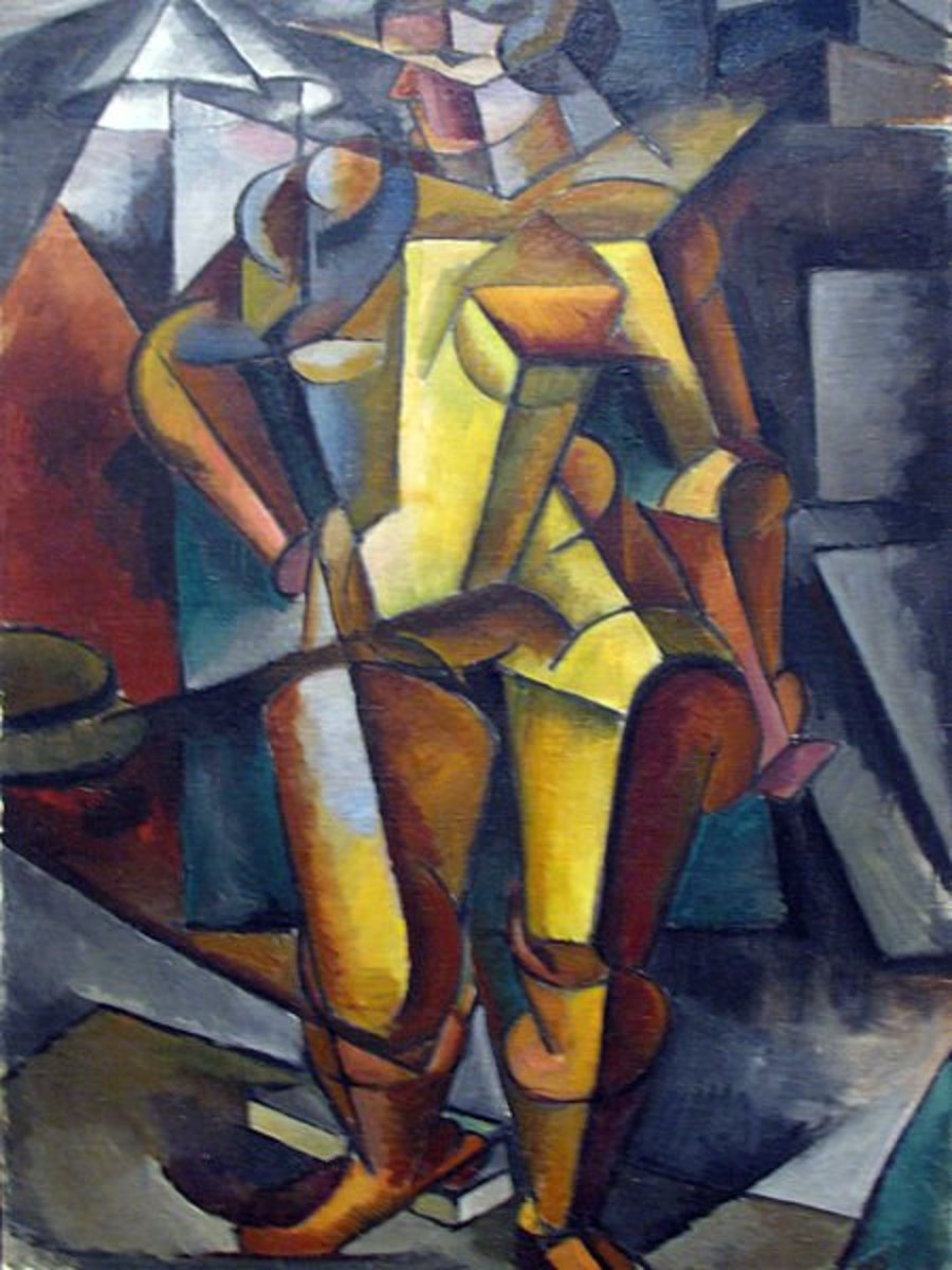The addition of geometric figures to expressionism style paintings characterized the Cubism movement.