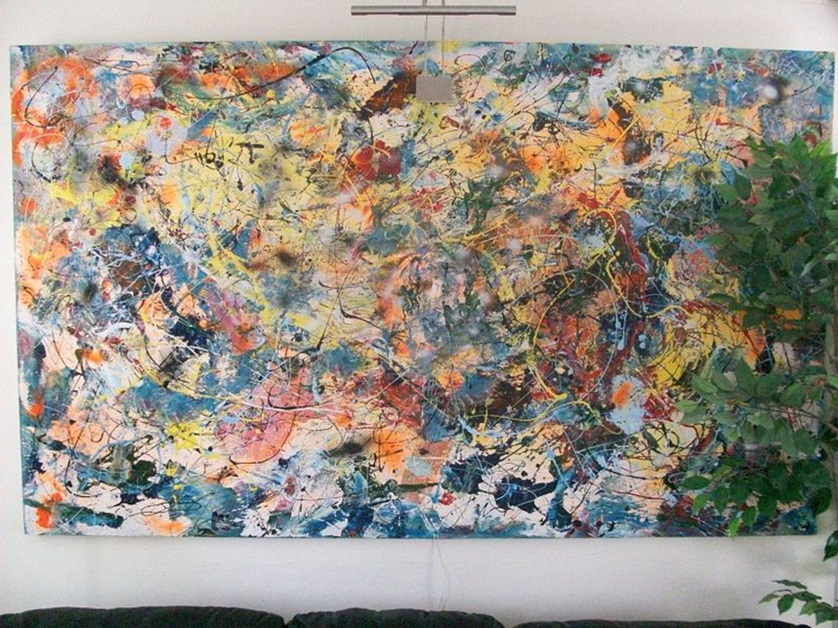 A splatter-paint image done in the style of Jackson Pollock.