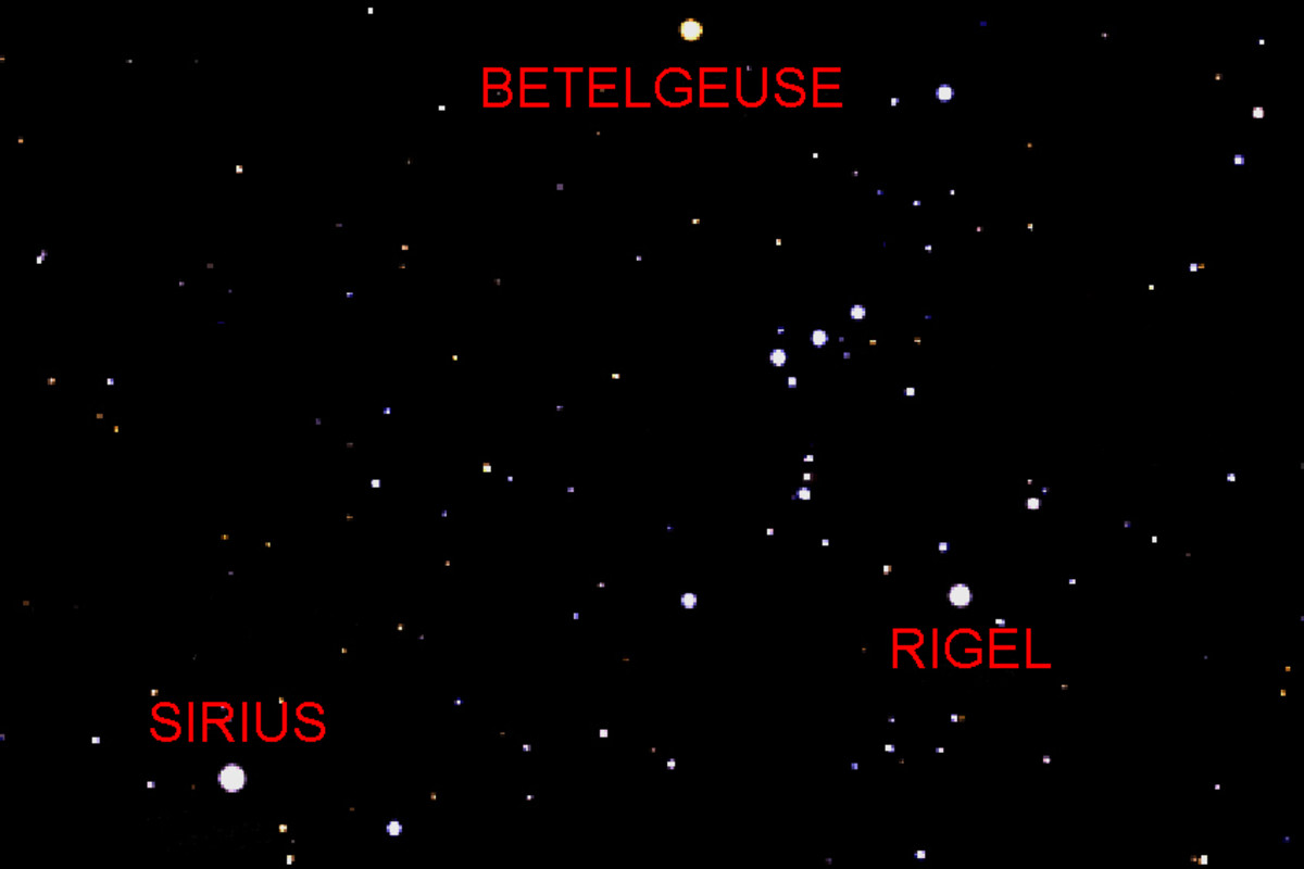 Sirius, Rigel and Betelgeuse