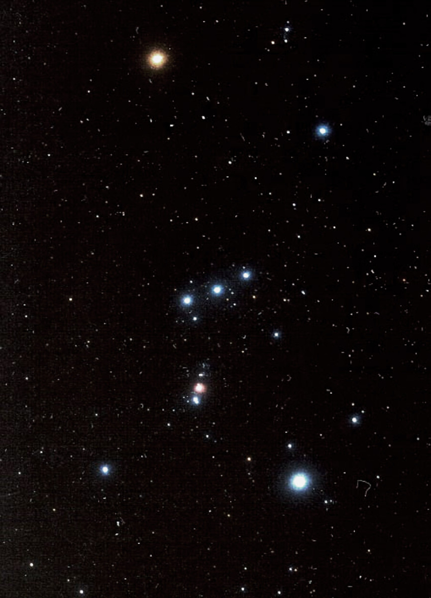 The great constellation Orion as it appears in the northern hemisphere. As one moves south to the equator, Orion seems to tip over on to its side, and then appears the other way up in the southern hemisphere