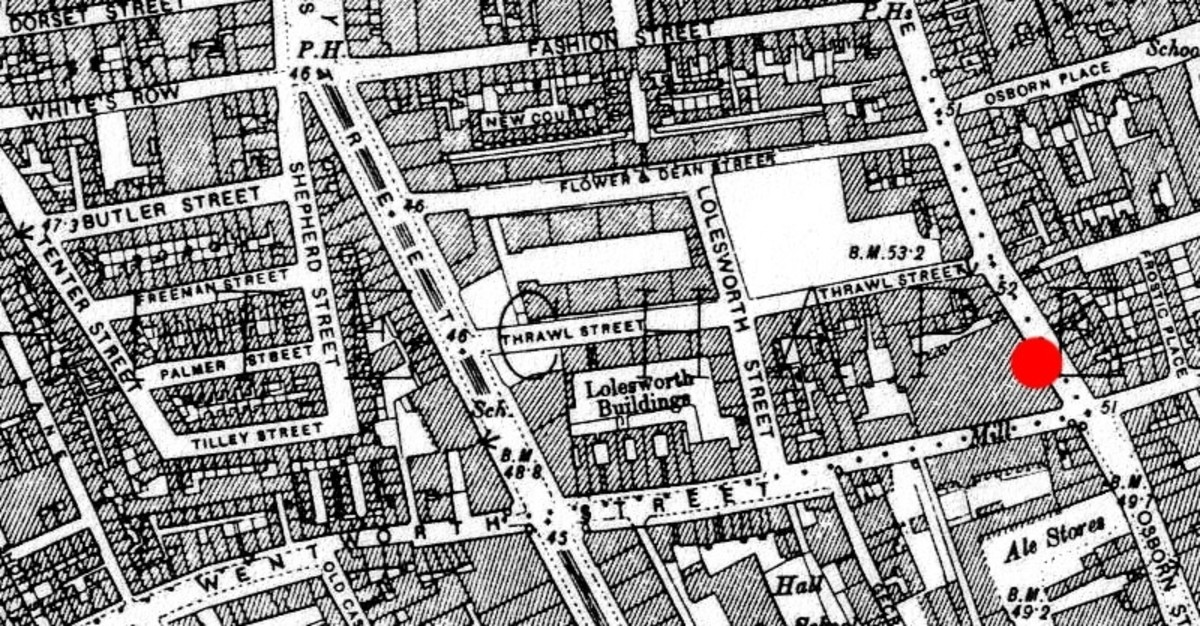 Whitechapel was a hotbed of criminal activity in the late 19th century. The red dot indicates the death of the first victim of the Whitechapel murders.